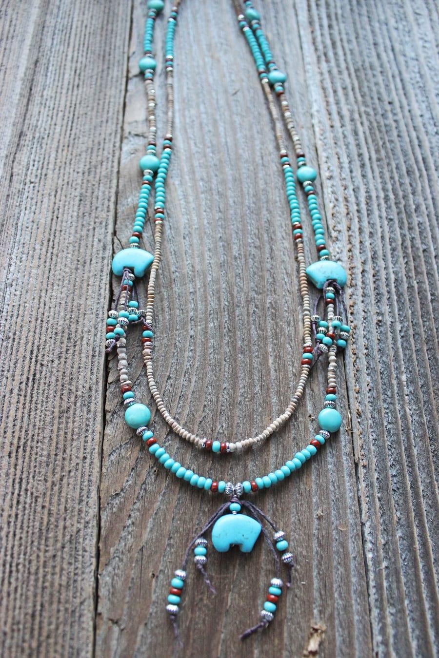 Cn928 Spirit Zuni Bear Handcrafted Necklace Trisha Waldron Designs