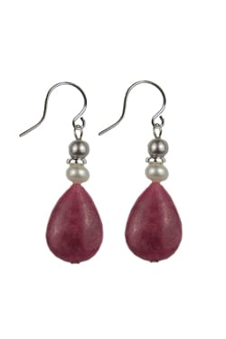 Rhodonite & Pearl Handcrafted Earrings