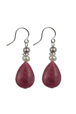 Rhodonite & Pearl Handcrafted Earrings