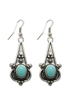 Magnesite Turquoise, Silvertone, Drop Earrings, Trisha Waldron Designs