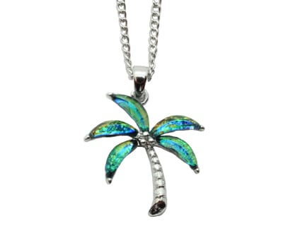 Shimmering aqua green and pink palm tree pendants hang from 18 p05 nautical palm tree necklaces aloadofball Choice Image