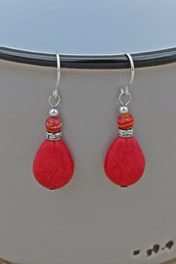 earrings waldron coral handcrafted red product magnesite trisha